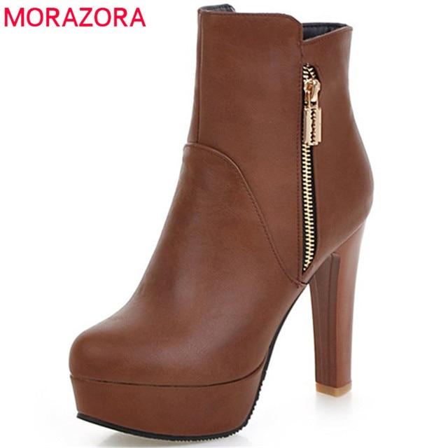 MORAZORA moda femenina Super tacones zapatos de fiesta de mujer botas  primavera otoño plataforma zapatos moda 484d3fd686558