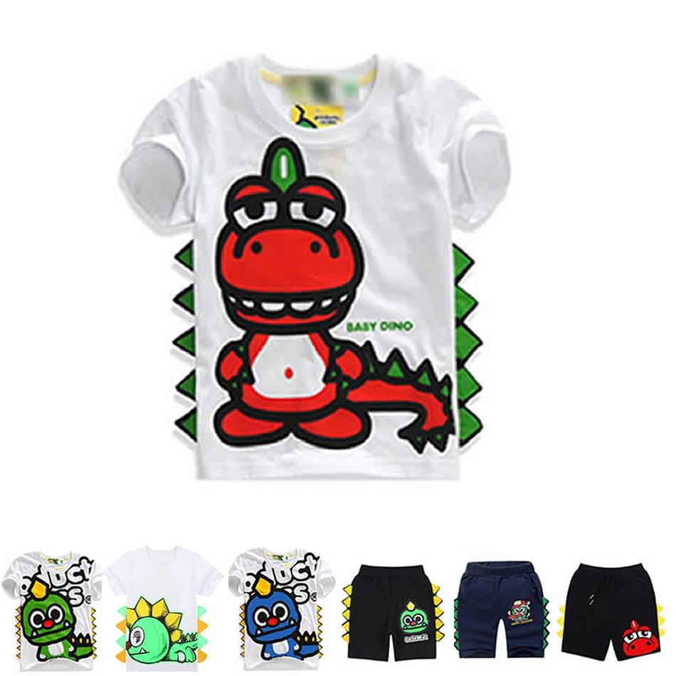 Meninos Roupas de Verão Roupas Para Crianças Criança Menino Camisa Branca de T T-shirt Impressão Dinossauro Kawaii Dos Desenhos Animados Shorts Para Menino