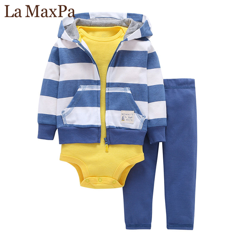 3pcs(long-sleeved Striped Hooded Pockets Zipper Coat+solid Red Fashion Style Romper+pants)baby Boy 2018 New Character Clothes gentlemen style striped baby boy romper playsuit