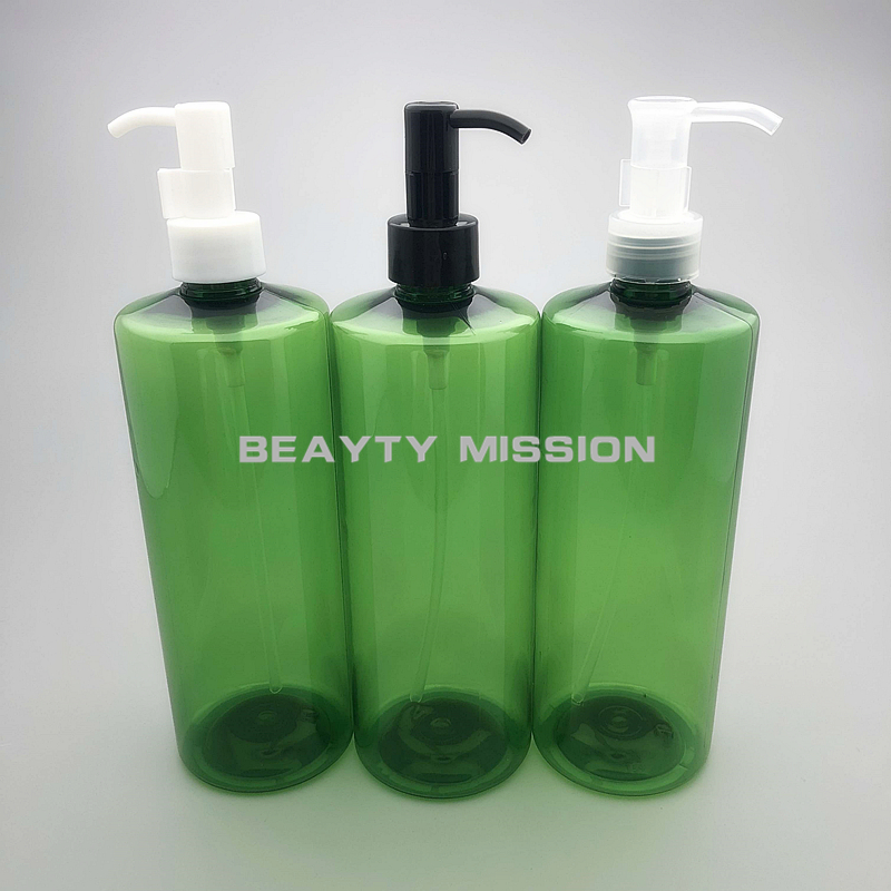 36da9e0ffc76 US $26.1 10% OFF|BEAUTY MISSION 12 pcs/lot 500ml green PET bottle essential  oil pump, empty Cleansing Oil plastic bottles refillable container-in ...