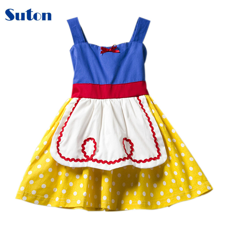 suton Baby Girl Clothes Snow White Dress for Girls Dresses Dot Cotton Halloween Princess Cosplay Costumes Toddler Kids Clothes