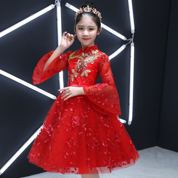2018 Autumn New Baby Kids Birthday Wedding Party Princess Lace Flowers Prom Dress Children Little Girls Host Piano Costume Dress
