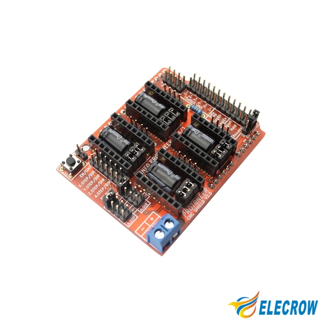 US $78 4 |Elecrow CNC Shield V3 5 Expansion Board for Arduino GRBL v0 9  Compatible with PWM Spind DIY Kit Free Shipping-in Electronic Data Systems