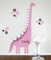 Hot Sale Pink Dinosaur Brown Flower Baby Nursery Rooms Wall Stickers Home Decor Art Vinyl Wallpaper Children Bedroom 105X180CM