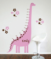 Hot Sale Pink Dinosaur Brown Flower Baby Nursery Rooms Wall Stickers Home Decor Art Vinyl Wallpaper Children Bedroom 105X180CM