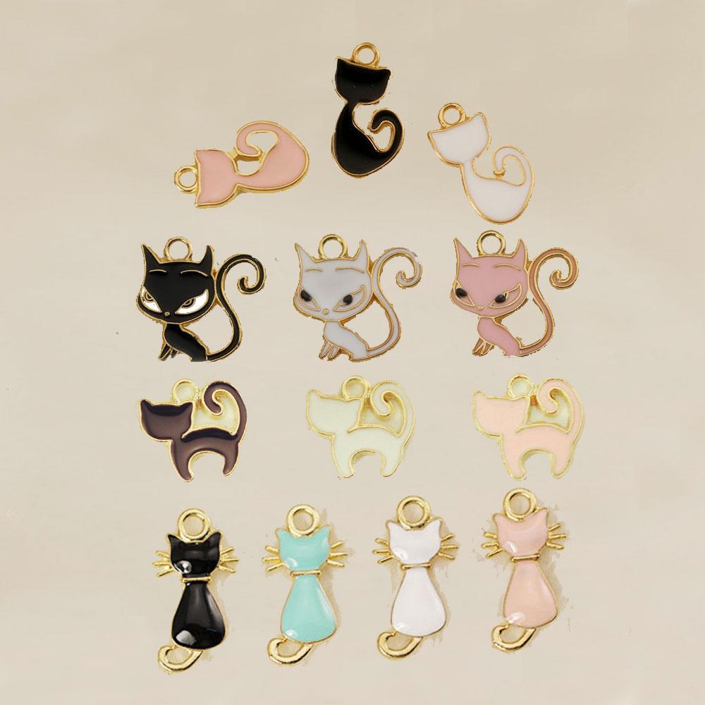Горячая Мода шармы мульти милый кот эмаль талисманы для изготовления ювелирных изделий браслет/ожерелье/серьги, ювелирные изделия женские аксессуары