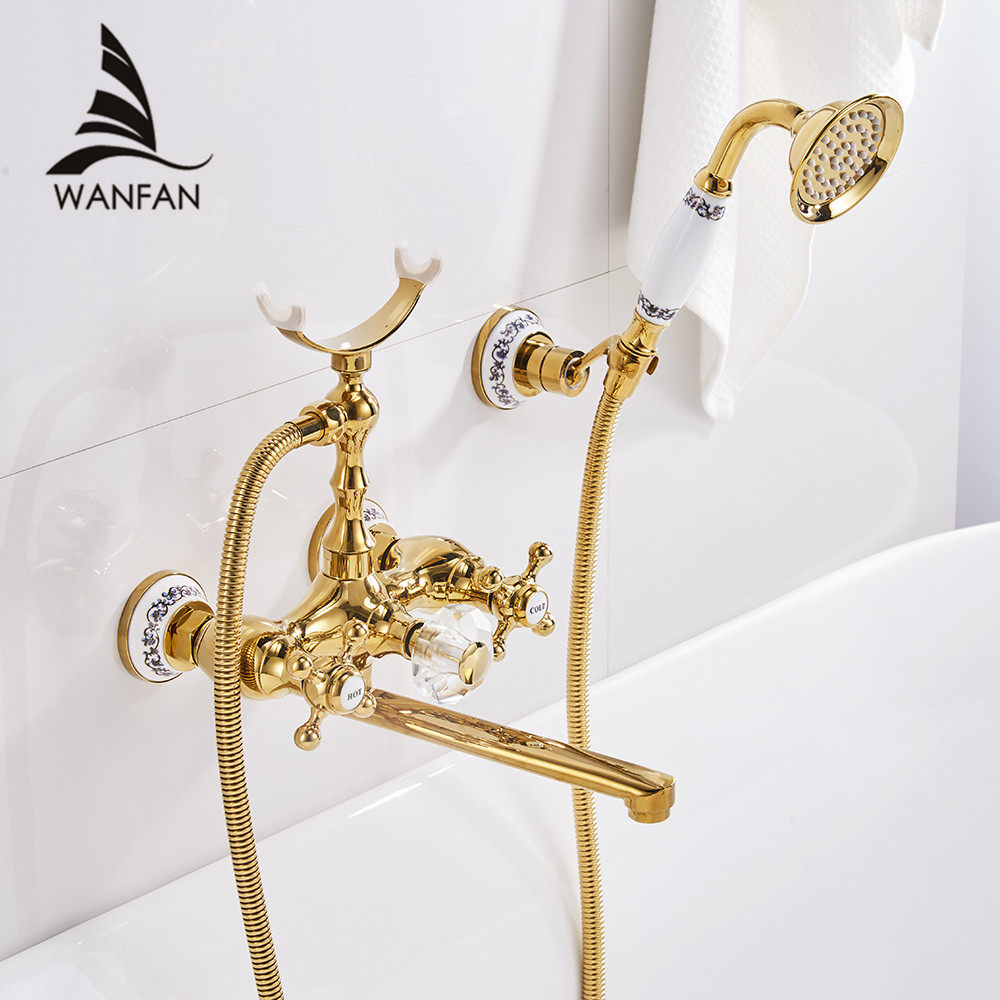 Bathtub faucets luxury gold brass bathroom faucet mixer tap wall mounted hand held shower head kit shower faucet sets hs g018