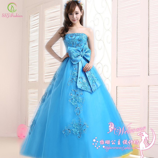 d90305acdda Princess Quinceanera Dresses 2016 Blue Lace Embroidery with Big Bow Strapless  Long Formal Prom Derss Plus Size Performance Dress