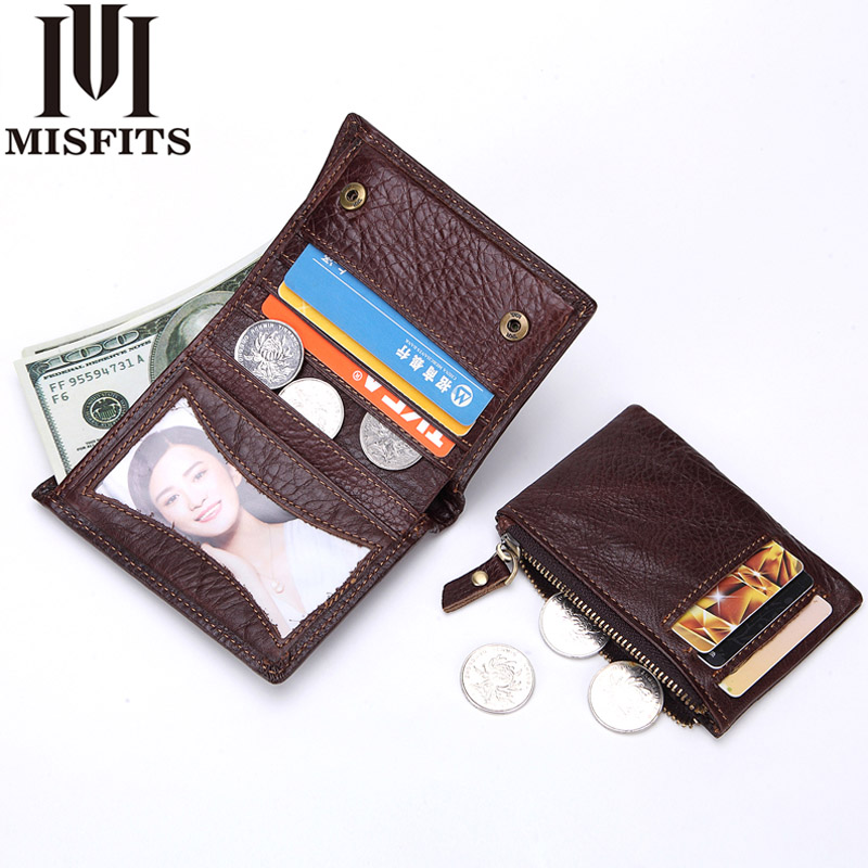 2018 Casual Genuine Leather Wallet Vintage Small Coin Purse Cowhide Men Wallets Male Short Slim Zipper Wallet Card Photo Holder dalfr genuine leather mens wallets card holder male short wallet 6 inch cowhide vintage style coin purse small wallet