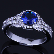 Perfect Round Blue Cubic Zirconia White CZ 925 Sterling Silver Ring For Women V0101