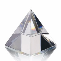 H&D 3.9'' Energy Healing Egypt Egyptian Crystal Glass Pyramid Clear Rare Feng Shui Crystals Craft Ornaments for Home Decor