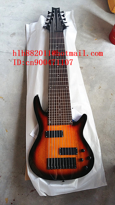 new big john 10 strings electric bass guitar in sunburst with basswood body and black hardware f. Black Bedroom Furniture Sets. Home Design Ideas