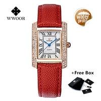 WWOORผู้หญิงดูหนังแท้สแควร์r eloj mujerชุดนาฬิกาสุภาพสตรีควอตซ์Rose G Oldนาฬิกาข้อมือหญิงนาฬิกาM Ontre F Emme