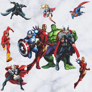 Ücretsiz Kargo Avenger Iron Man Hulk Justice League duvar çıkartmaları Çocuk Kreş Erkek Dekor Vinil Çıkartması sanatsal fresk Hediye 119