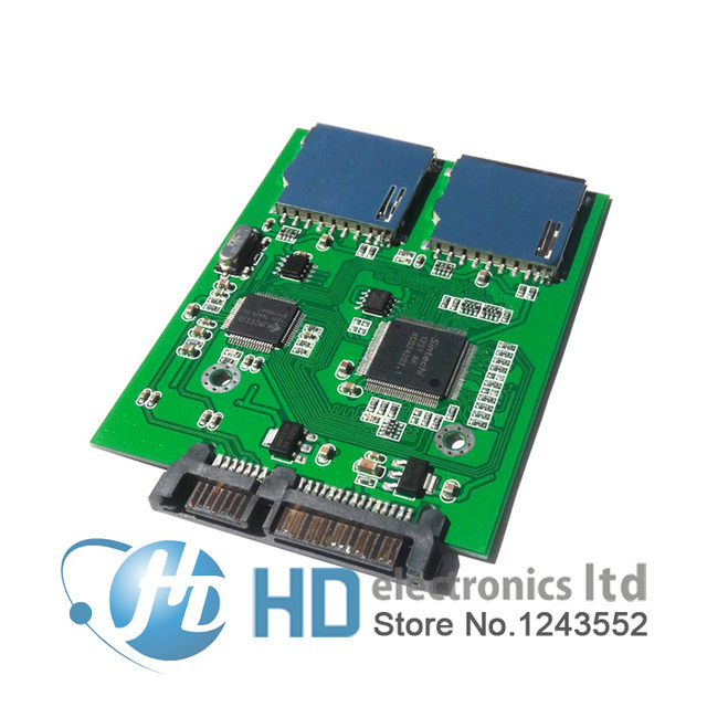 2 Port Dual SD SDHC Secure Digital MMC Memory Card To 7 15P SATA Serial