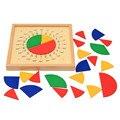 Quente Colorido De Madeira Materiais de Segurança Rodada painel de Avaliação da Educação Na Primeira Infância Aprendendo Escala Fração Maria Montessori Brinquedo