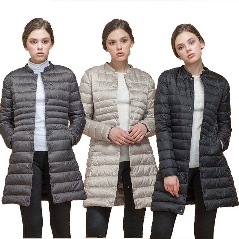 2019 Women   Parkas   Winter Warm Thick Padded Cotton and Ultra Light Duck Down Long   Parkas   Overcoat Slim Solid Light Weight Coats