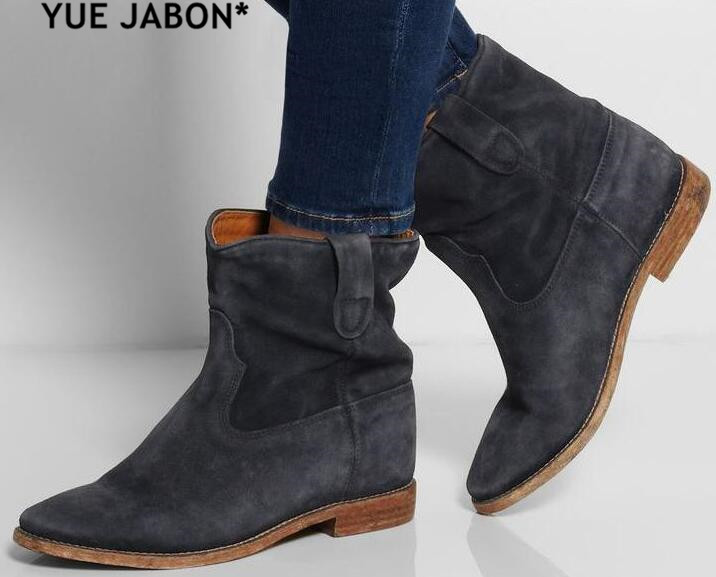 High Quality Round Toe Wedges Increased Heel Ladies Boots Street Style Women Ankle Boots Spring Autumn Cowboy Ankle Boots Mujer