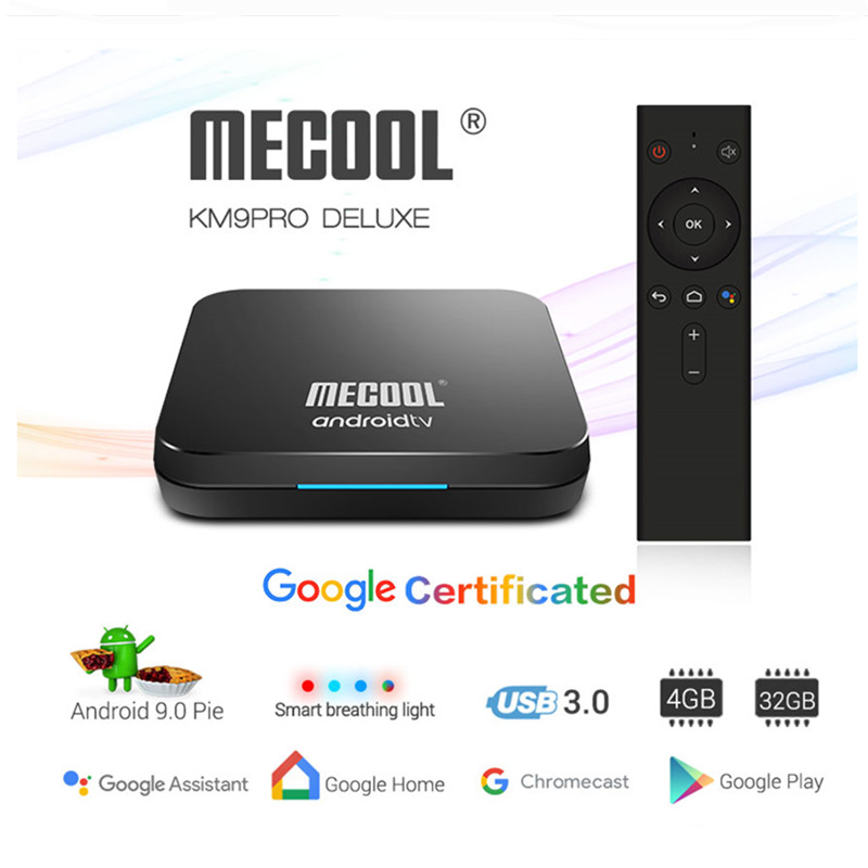 <font><b>Mecool</b></font> <font><b>Km9</b></font> Pro <font><b>Android</b></font> 9.0 <font><b>Tv</b></font> <font><b>Box</b></font> Amlogic <font><b>S905x2</b></font> 4GB 32GB DDR4 Google Certified Youtube PlayeReady Voice Control Set Top <font><b>Box</b></font> image