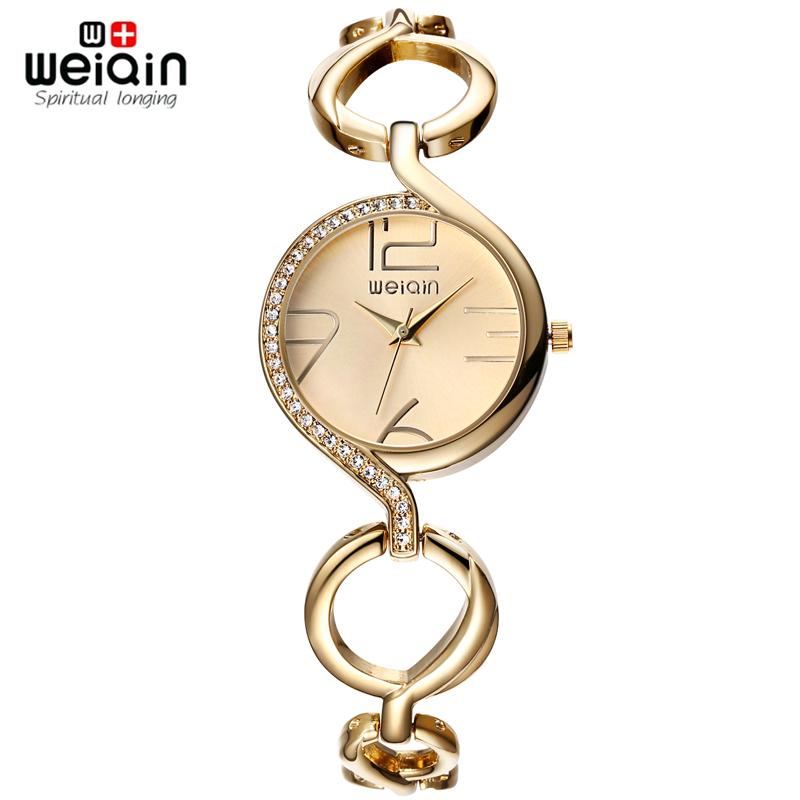 WEIQIN Brand New Fashion Ladies Luxury Gold Quartz Wristwatches Women Famous Brand Rhinestone Watches Relojes Mujer Montre Femme luxury brand fashion casual ladies watch women rhinestone watches dress rose gold quartz female clock montre femme relojes mujer
