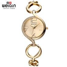 WEIQIN Marca Nueva Señoras de La Manera de Oro De Lujo Famosa Marca de Relojes de pulsera de Cuarzo de Las Mujeres Rhinestone Relojes relojes Mujer Montre Femme