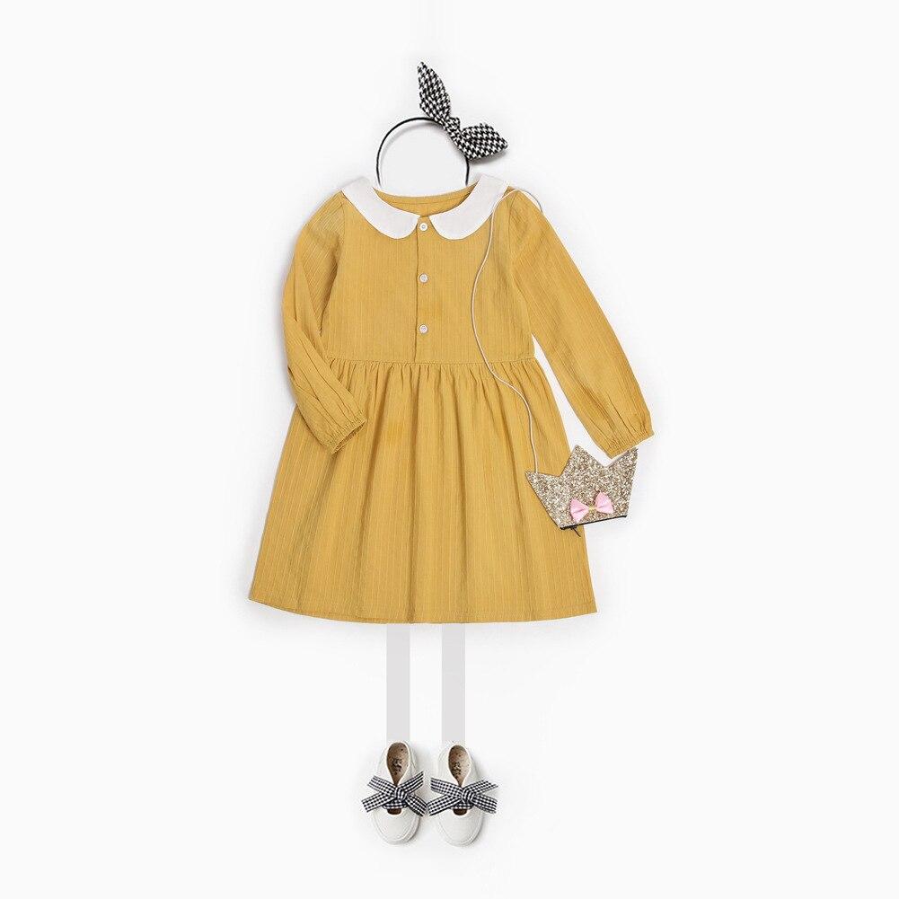 f2c68ae3f2870 2018 Spring New Girl Dress Peter Pan Collar Mustard Children Dress Kids  Casual Dress European Girls Clothing-in Dresses from Mother & Kids on  Aliexpress.com ...