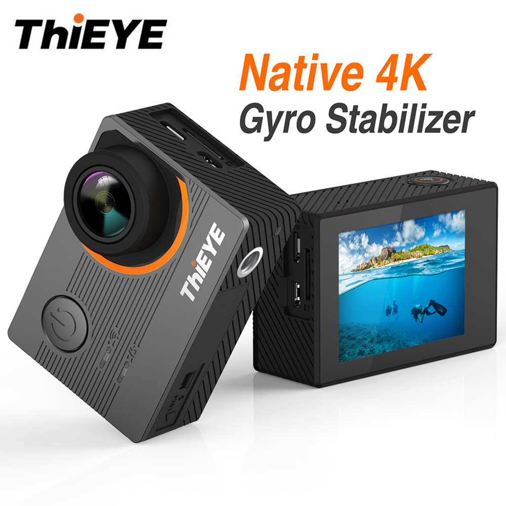 THiEYE E7 Native 4K WiFi Sport Camera 20MP HD with 2 inch IPS Screen 30fps Action Video Camera Voice Control 60m Waterproof Cam