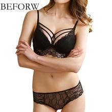 BEFORW Sexy Lace Bra Set Deep V Underwire Push Up Bralette Brief Sets Sexy Lingerie Transparent Underwear Women Bra Panties Set