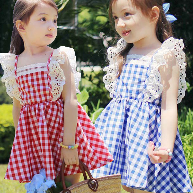 summer baby Toddler girls princess dress red blue plaid cute lace dresses elastic waist child costume sleeveless kids clothes cute red and black princess dress sequin toddler summer dresses ruffles with bow baby girl sleeveless 1st birthday dress