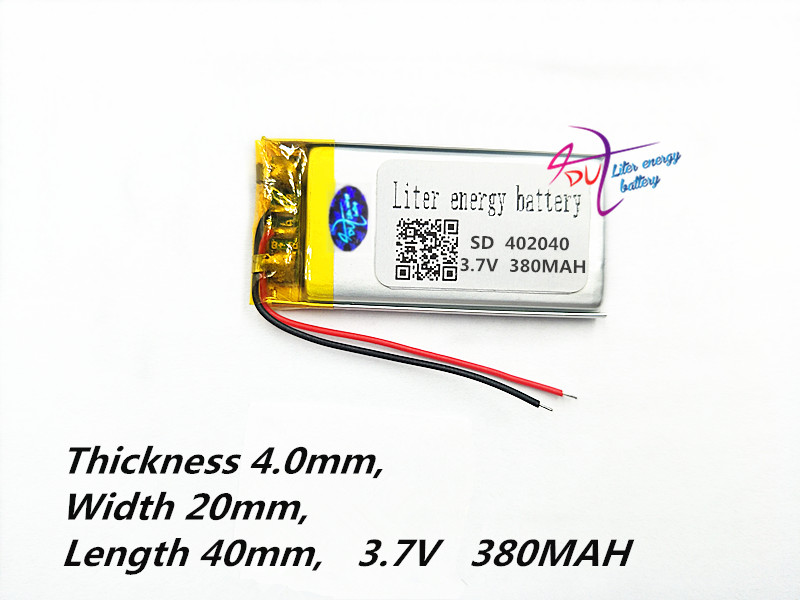 Polymer lithium batteri 402040 042040 3.7V 380mAh MP3 MP4 Toy Bluetooth Tablet polymer batteri