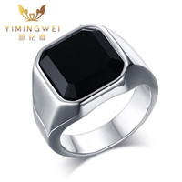 YMW Fashion Mens Silver Color Rings Stainless Steel Band With Black Stone Inlay Ring For