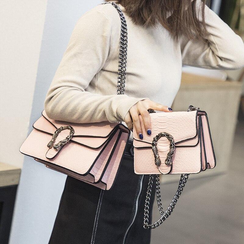 Women's Bag 2018 Version of Small Square New Bag Fashion Snake Embossed Shoulder Bag Chain Messenger Bag все цены