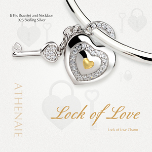 Image 3 - ATHENAIE 925 Silver with Pave Clear CZ Lock of Love Charm Beads Fit All European Bracelets Gift For Christmas , Valentines Da