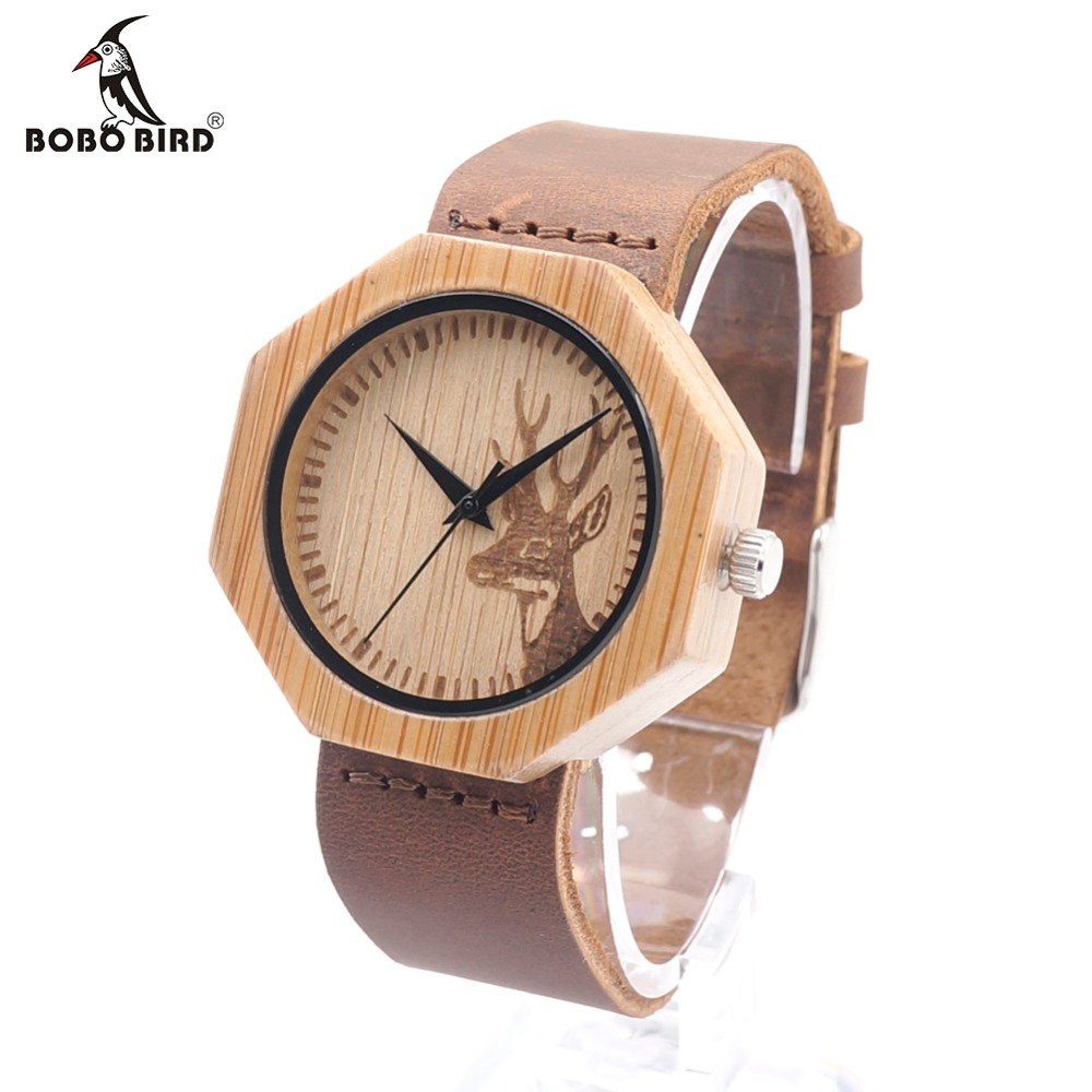 Prix pour Bobo bird a14 naturel bambou bois avec des cerfs tête cadran avec les Amateurs de Cuir Véritable Marque De Luxe Montre-Bracelet Pour Femmes comme cadeaux