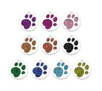 50PCS/lot Sparkly Bling DIY Pet Dog Bear Paw Prints Round hang pendant charms fit for keychains necklace fashion jewelrys