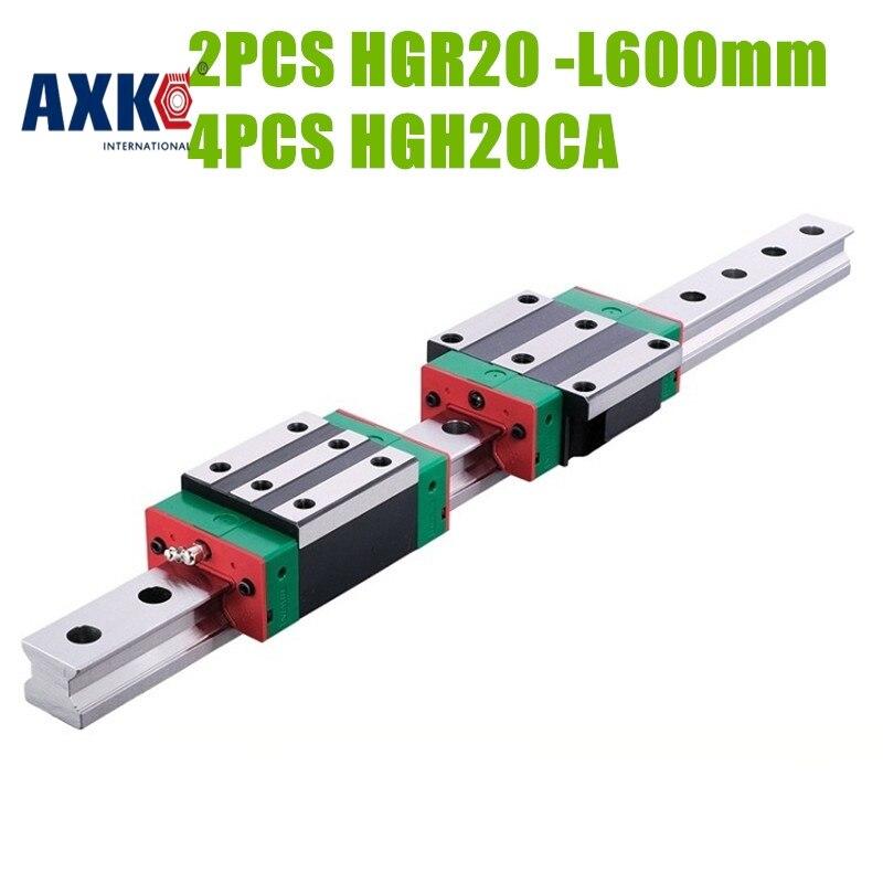 Axk 100% New Original Hiwin Linear Guide 2pcs Hgr20 -l600mm Rail + 4pcs Hgh20ca Narrow Carriages For Cnc Router 100% new original 25mm precision linear guide rail 1pcs trh25 l 200mm 1pcs trh25b square linear block for cnc