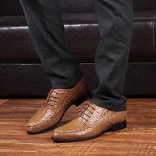 Merkmak Brand Genuine Leather Oxford Shoes For Men Business Men Crocodile Shoes Men's Dress Shoes Plus Size Wedding Shoes Man