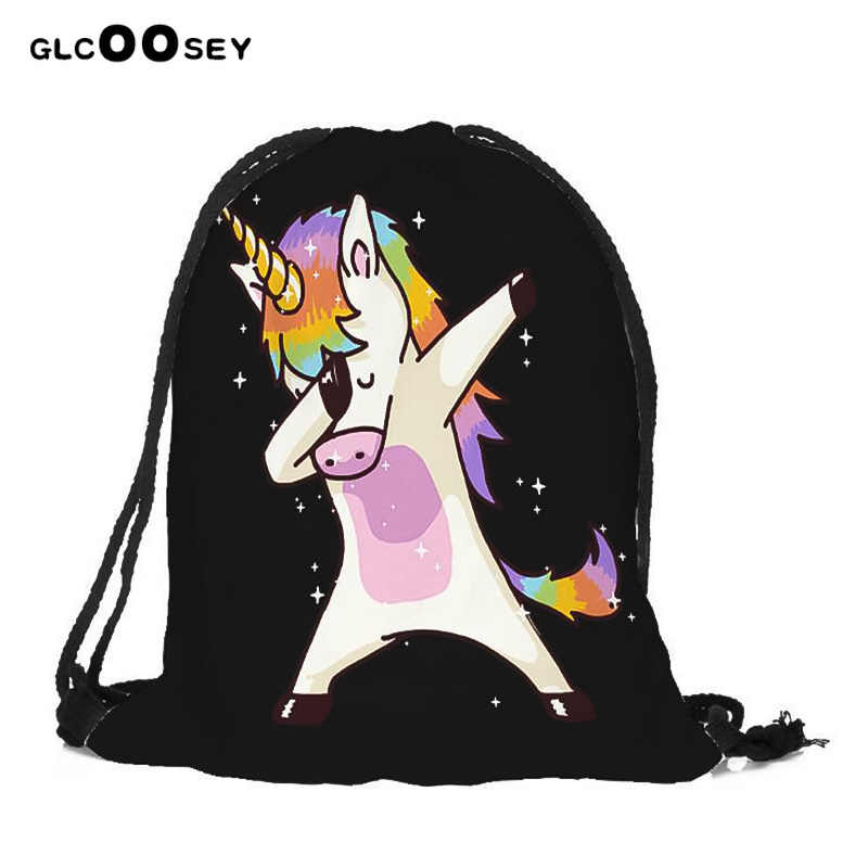 Gril's смешной Единорог сумки 2 шт. горячая Распродажа Высококачественная 3D цифровая сумка со стягивающим шнурком и напечатанным текстом ребенок Единорог Drawstring рюкзак с карманами