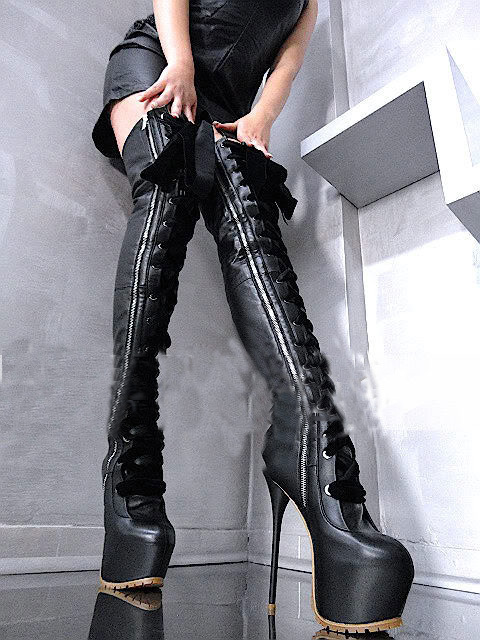 Sexy black thigh high women boots Lace-up platform high heel suede leather boots gladiator stiletto heel nighclub booty
