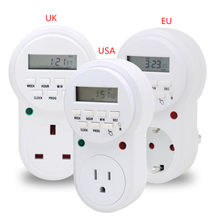 Adaptateur d'alimentation Intelligent EU USA UK Plug-in numérique LCD alimentation Programmable minuterie interrupteur de temps relais de prise(China)
