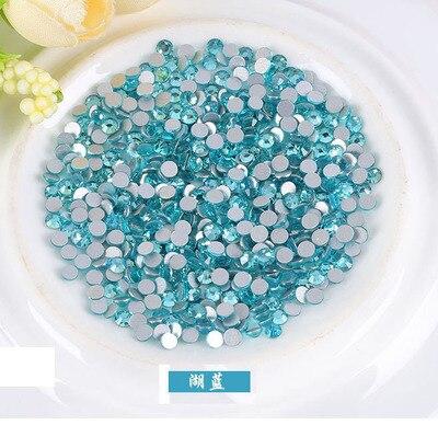 Super Shiny Glue On Glass Rhinestones For Nail 1440pcs ss3-ss30 Aquamarine Crystal Non Hotfix Flat Back Chatons DIY
