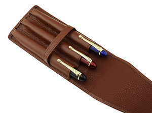 Image 3 - Leather Pencil Case Washed Cowhide Pen Case / Bag for 3 Pens , Coffee Pen Holder / Pouch High Quality for Men & Women