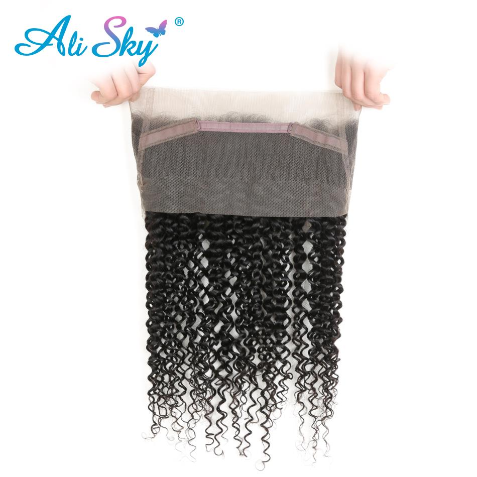 Ali Sky 360 Lace Frontal Brazilian Kinky Curly Hair 10-20 Natural Black Color 100% Human Hair With Adjustment non remy ...