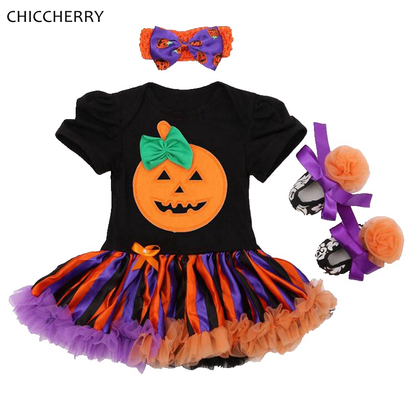 Cute Bowtie Pumpkin Baby Halloween Costumes Newborn Baby Girl Lace Romper Dress Headband Shoes Toddler Tutu Sets Infant Clothing