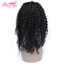 [Berrys Fashion] Full Lace Human Hair Wigs Kinky Curly 130% Density Natural Hairline Free Part Peruvian Remy Hair(China)