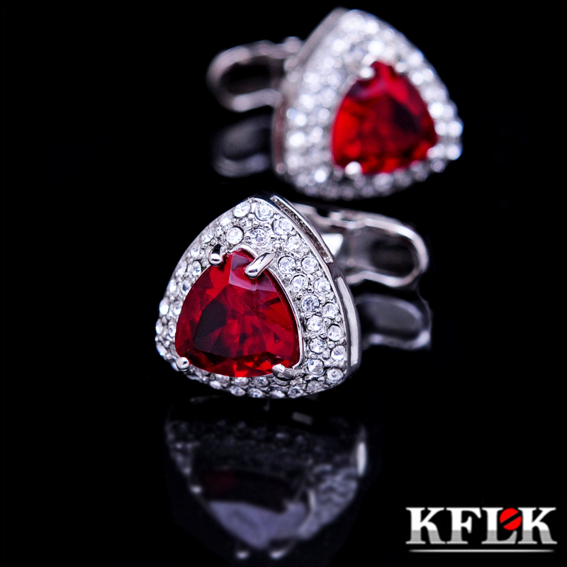 KFLK Jewelry French shirt cufflinks for mens Brand Crystal Cuff link Luxury Wedding Button male High Quality Red Free Shipping