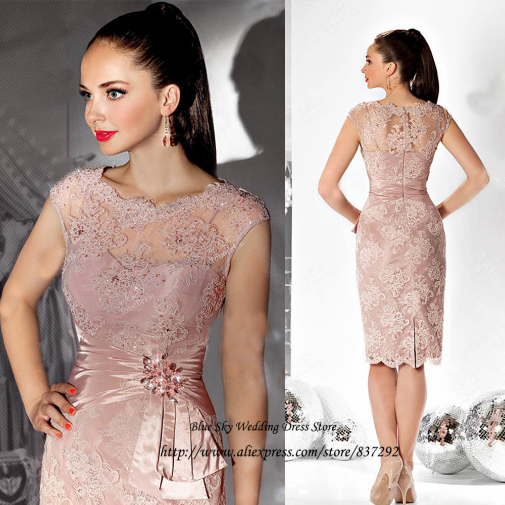 Old Pink Short Mother Of The Bride Lace Dresses 2015