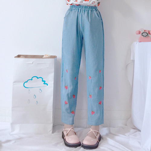 Summer kawaii Super Strawberry Print Short Sleeve Shirt Top + Embroidery Strawberry Casual   wide     leg     pants   vadim Denim Trousers