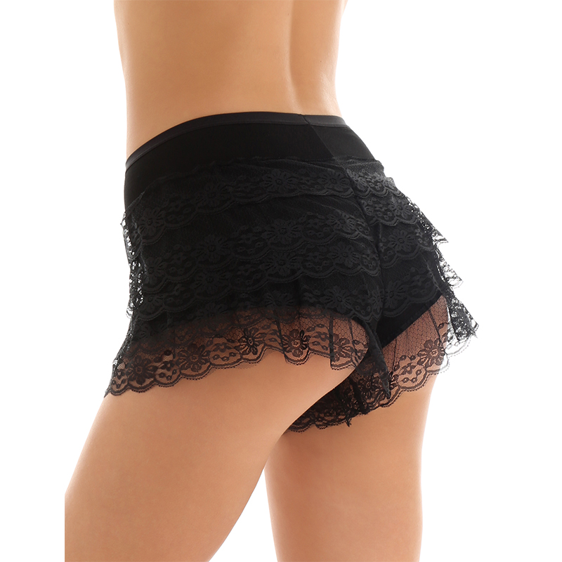 TiaoBug Women Black/White Layered Ruffles Lace Stretchy Underskirts Gymnastics Ballet Dance Costume Safety Shorts Skirt Panties