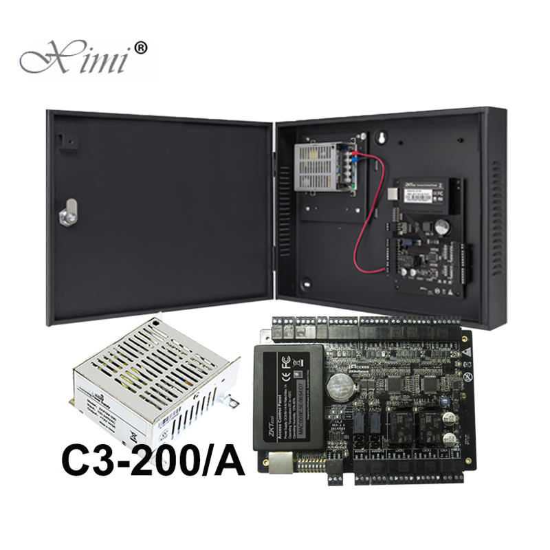 C3-200 Two Doors Access Control Panel ZK TCP/IP Door Access Control System Access Control Board With Power Supply Box c3 400 four doors access control panel tcp ip door access control system zk access control board with 12v5a power supply box